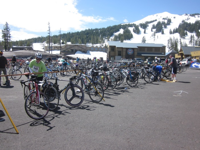 A shot of the bike transition area.