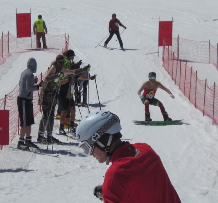 Here was Robin (Jon) finishing up the alpine ski leg of the race.