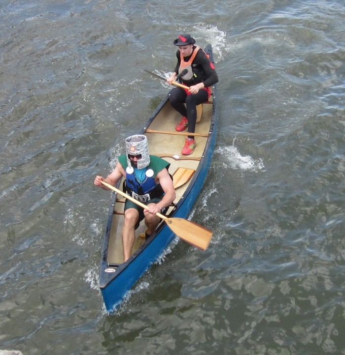 Our team-mates, James Robinson (front) and Nathan Litke (back) paddling towards the finish line.