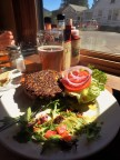 Veggie burger and beer!