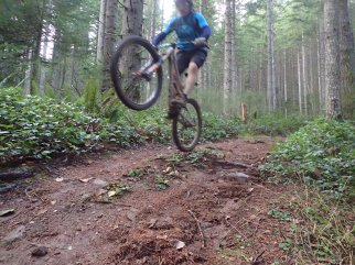 He can't help but get a little rad on even the simplest trail.