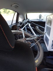 My bike rack broke while riding on the highway, so I had to stuff my bike in my car. Good thing I have a relatively spacious hatchback.