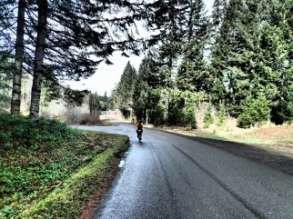 After grinding it out on gravel for a while, pavement was a welcome sight.