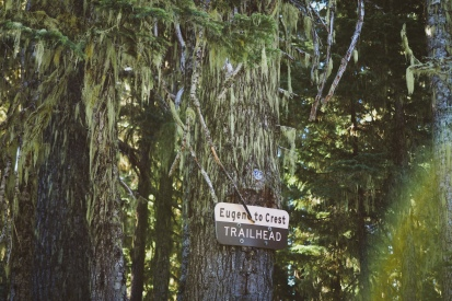 After a couple hours of gravel climbing, we reached the first trailhead: Eugene to Crest.